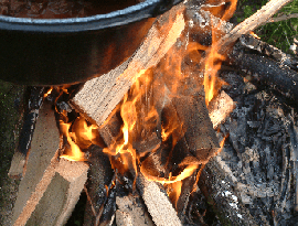 Campfire with black pot