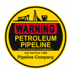 Warning sign for petroleum pipeline