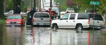 Cars in flooded street